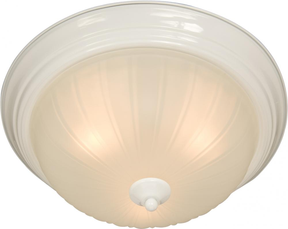 Three Light Frosted Glass Navaho White Bowl Flush Mount