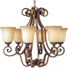 Maxim 11764WSGU - Six Light Wilshire Glass Gold Umber Up Chandelier