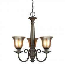 Generation Lighting - Seagull 3170403BLE-736 - Fluorescent Blayne Three Light Chandelier in Platinum Oak with Mercury Glass