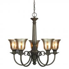 Generation Lighting - Seagull 3170405BLE-736 - Fluorescent Blayne Five Light Chandelier in Platinum Oak with Mercury Glass