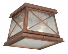 "Vaxcel International T0065 - Mackinac 9"" Outdoor Flush Mount Antique Red Copper"