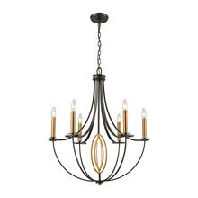ELK Lighting 10515/6 - Dione 6-Light Chandelier in Brushed Antique Brass and Oil Rubbed Bronze