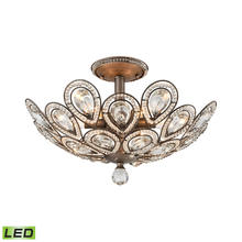 ELK Lighting 11931/6-LED - Evolve 6-Light Semi Flush in Weathered Zinc with Clear Crystal - Includes LED Bulbs