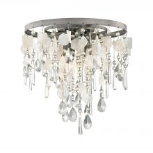 ELK Lighting 15931/3 - Alexandra 3-Light Semi Flush in Weathered Zinc with Crystal and Capiz Shells