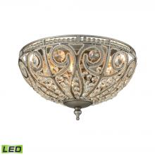 ELK Lighting 15993/3-LED - Elizabethan 3-Light Flush Mount in Weathered Zinc with Clear Crystal - Includes LED Bulbs