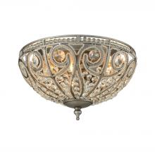 ELK Lighting 15993/3 - Elizabethan 3-Light Flush Mount in Weathered Zinc with Clear Crystal