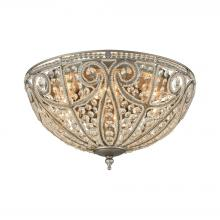 ELK Lighting 15994/6 - Elizabethan 6-Light Flush Mount in Weathered Zinc with Clear Crystal