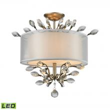 ELK Lighting 16281/3-LED - Asbury 3-Light Semi Flush in Aged Silver with Organza and Fabric Shade - Includes LED Bulbs