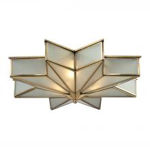 ELK Lighting 22011/3 - Decostar 3-Light Flush Mount in Brushed Brass with Frosted Glass Panels